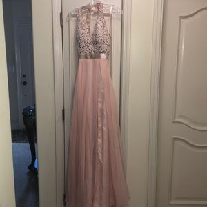 Pink chiffon prom dress